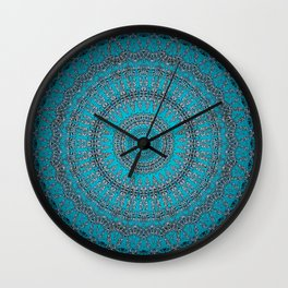 Dark Teal Circular Mandala Wall Clock