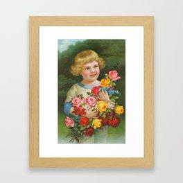 Child with roses | Kind mit Rosenstrauss Framed Art Print