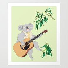 Koala Playing Guitar Art Print
