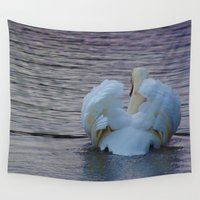 swan Wall Tapestries featuring Swan by Lizzie Scott