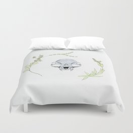 minimalist cat skull and vines Duvet Cover