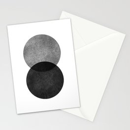 Black and grey circle Stationery Cards