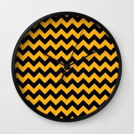Large Pale Pumpkin Orange and Black Halloween Chevron Stripes Wall Clock