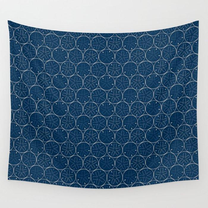 Sanddollar Pattern in Blue Wall Tapestry