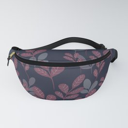 Modern Foliage Pink and Navy   Girly Leaf Patttern  Fanny Pack