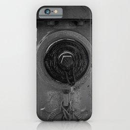 Eddy Valve Fire Hydrant Black and White Fine Art Photography Closeup Fireplug Detail iPhone Case