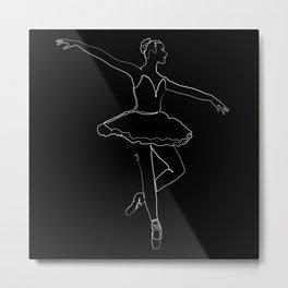 The Ballerina Line - White & Black Metal Print