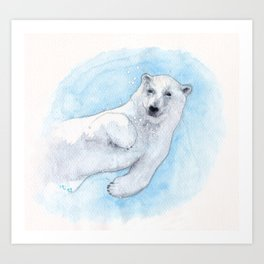Polar bear underwater Art Print