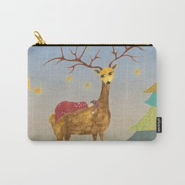 Christmas Deer with Child, Christmas Tree and Stars Carry-All Pouch