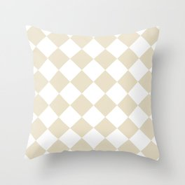 Large Diamonds - White and Pearl Brown Throw Pillow