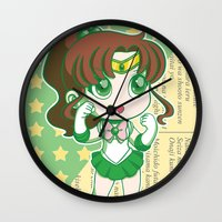 sailor jupiter Wall Clocks featuring Sailor Jupiter by strawberryquiche