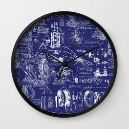 Da Vinci's Sketchbook // Dark Blue Wall Clock