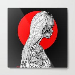 Navajo Girl, Black and White Illustration Metal Print