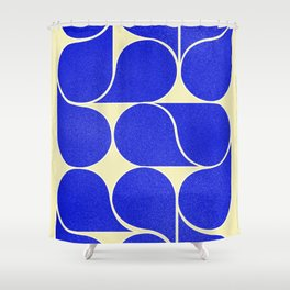 Blue mid-century shapes no8 Shower Curtain