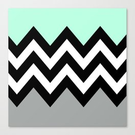 DOUBLE COLORBLOCK CHEVRON {MINT/BLACK/GRAY} Canvas Print