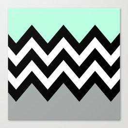 DOUBLE COLORBLOCK CHEVRON {MINT/BLACK/GRAY} Canvas Print