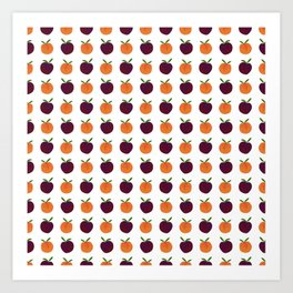 Mini Peachy Plummy Hand-Painted Orchard Fruits Art Print
