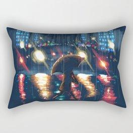 City Night Rain Rectangular Pillow