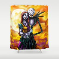 jack skellington Shower Curtains featuring Jack Skellington With Sally Figurine by Andrian Kembara