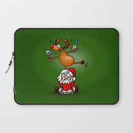 Reindeer is having a drink on Santa Claus Laptop Sleeve