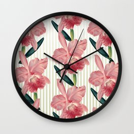 Pink Orchids Beige Pinstripes Wall Clock
