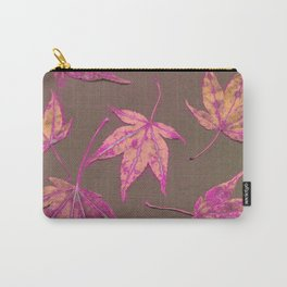 Japanese maple leaves - neon pink on khaki Carry-All Pouch