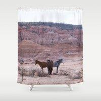 horses Shower Curtains featuring horses by francesco bertozzi