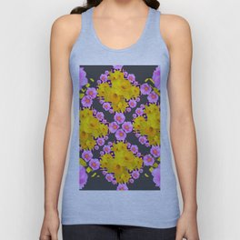 Charcoal-Grey Pink Roses Daffodils Pattern Art Unisex Tank Top