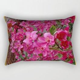 FUCHSIA PURPLE CRAB APPLE FLOWERS  FLORAL ART Rectangular Pillow