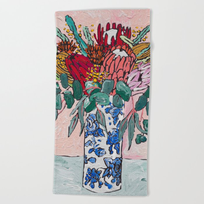 Australian Native Bouquet of Flowers after Matisse Beach Towel