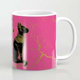Sphinx Black & Gold Egyptian  cat on fuchsia Coffee Mug