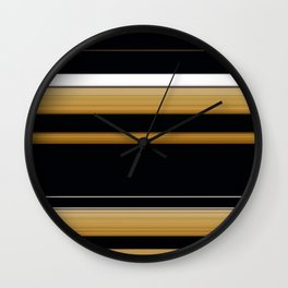 Rich Gold Black Striped Pattern Wall Clock