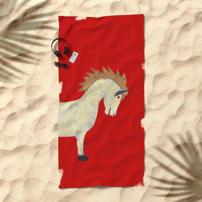 Vintage Pony Design Beach Towel