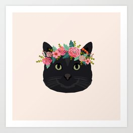 Black cat breed floral crown black cats lover pure breed gifts Art Print