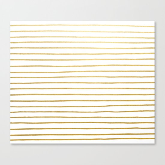 Gold Paris Stripe Pattern Canvas Print