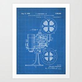 Film Projector Patent - Cinema Art - Blueprint Art Print