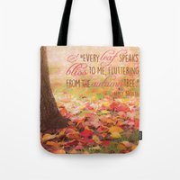 poem Tote Bags featuring Autumn Leaves Poem by Graphic Tabby