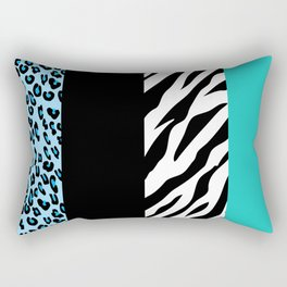 Animal Print, Zebra Stripes, Leopard Spots - Blue Rectangular Pillow