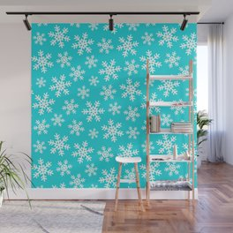 Hanukkah and Christmas Snowflake Pattern on Bright Blue Wall Mural