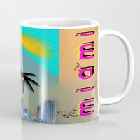 miami Mugs featuring Miami by Dunksauce Art