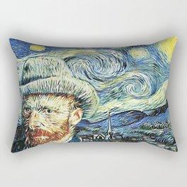 Van Gogh With Starry Night Rectangular Pillow