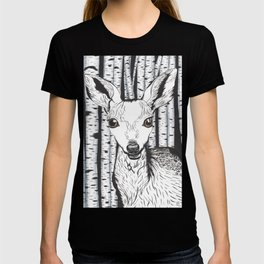 Ink and watercolor black and white doe/deer in the forest T-shirt