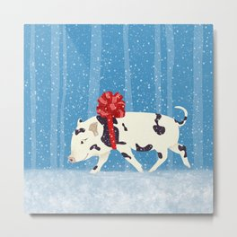 Cute Little Pig Holiday Design Metal Print
