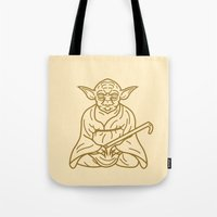 buddhism Tote Bags featuring Yoda by Roland Banrevi