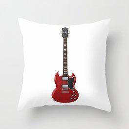 Red Electric Guitar Throw Pillow
