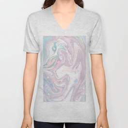 Abstract pastel pink purple teal watercolor marble Unisex V-Neck