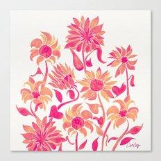 Sunflower Watercolor – Pink Palette Canvas Print
