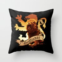 gryffindor Throw Pillows featuring Gryffindor by Markusian
