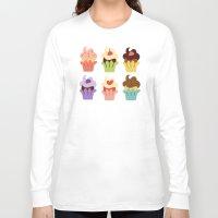 cupcakes Long Sleeve T-shirts featuring Cupcakes by Carolina Pineda