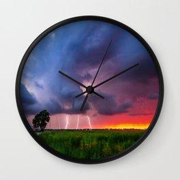 Quad Strike - Lightning Rains Down on the Oklahoma Landscape Wall Clock